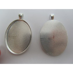 Oval Pendant Cabochon Setting 50x32 mm , Silver Color Plated - 1 pc
