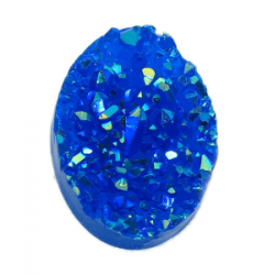 Oval Resin Cabochon Druzy 18x13 mm Royal Blue AB - 2 pcs