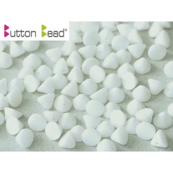 Perline Button Bead 4 mm Chalk White  -  20 Pz