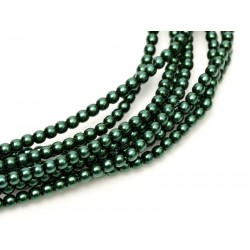 Glass Pearls  3 mm  Deep Emerald  - 50 pcs