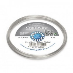 Griffin Copper Wire Craft Wire Silver Plated  0,8 mm - 6 m