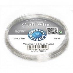 Filo di Rame Griffin Craft Wire Placcato Argento - 0,6 mm - 10 m