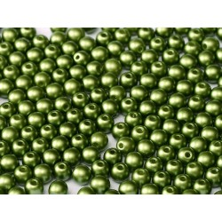 Round  Glass  Beads  4 mm Pastel Pastel Olivine   - 50 pcs