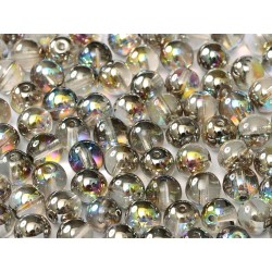 Perle Tonde in Vetro di Boemia  4 mm Crystal Graphite  Rainbow  - 50  Pz