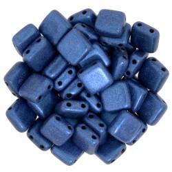 CzechMates Tile 6 mm Metallic Suede Blue  - 40 pcs