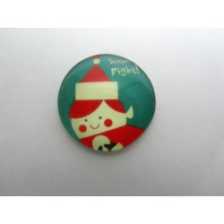 Round Glass Cabochon 25 mm Christmas Pattern - 1 pc