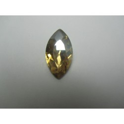 Horse Eye Faceted  Glass Cabochon 17x32  mm  Light  Champagne   - 1 pc