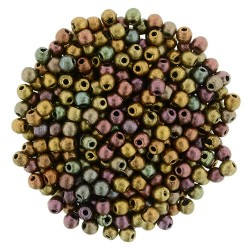 Round Beads 2 mm Mat Met. Bronze Iris - 50 pcs