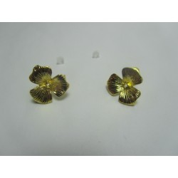 Copper Ear-Pin  Flower with Strass  16x14   mm, Gold  Color Plated  - 2 pcs