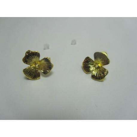 Perno Orecchino  in  Rame  Fiore con Strass  16x14  mm   Color Oro   -  2 pz
