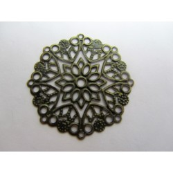 Filigree Flower Wraps Connectors 35 mm, Amtique Bronze Colour - 1 pc