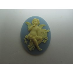 Oval Resin Cameo  40x30 mm Cherub with arrow  Ivory/Light Sapphire - 1 pc