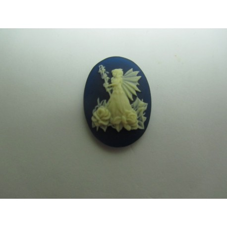 Oval Resin Cameo  25x18 mm  Fairy wit roses Ivory / Dark Blue - 1 pc