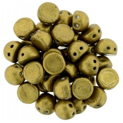 TrCzechMates Cabochon  2 Fori   7 mm Colorends Saturated Metallic Spicy Mustard   - 10 pz