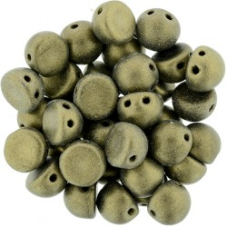 CzechMates Cabochon 2 Holes 7 mm Metallic Suede Gold - 10 pz