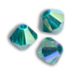 Bicono Swarovski  5301  3 mm  Emerald    AB  - 50  pz