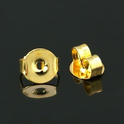Brass Earring Back 4,5x5,5x3 mm, Gold Color Plated- 10 pcs