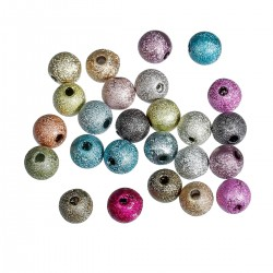 Stardust Acrylic Round Beads, 6 mm Mixed Colours - 50  pcs