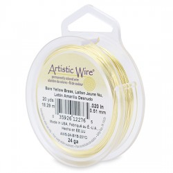 Artistic Wire  0.51 mm  (24 Gauge)  Bare Yellow Brass -  Spool of  18,29 m ( 20yds)