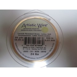Artistic Wire  0.51 mm  (24 Gauge)  Non-Tarnish Brass -  Spool of  18,29 m ( 20yds)