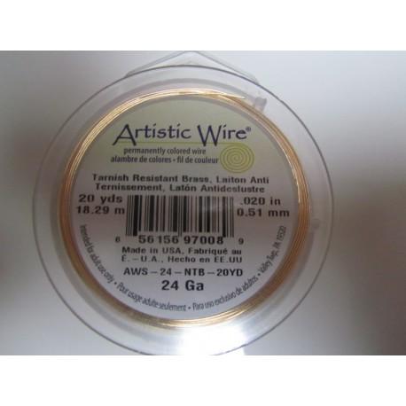 Artistic Wire  0.51 mm  (24 Gauge)  Non-Tarnish Brass -  Spool of  18,29 m ( 20yds)