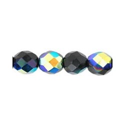 Fire Polished Faceted Round Beads 8 mm Jet AB - 20 pcs