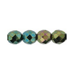 Fire Polished Faceted Round Beads 8 mm Iris Green - 20 pcs