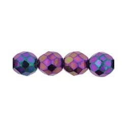 Fire Polished Faceted Round Beads 8 mm Iris Purple - 20 pcs