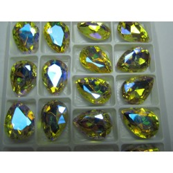 Teardrop Glass  Cabochon  13 x 18 mm  Citrine AB  - 1 pc
