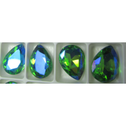 Teardrop Glass  Cabochon  13 x 18 mm  Crystal  AB  - 1 pc