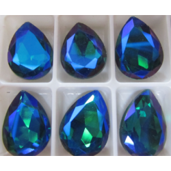 Teardrop Glass  Cabochon  13 x 18 mm  Dark Green  AB  - 1 pc