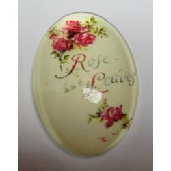 """Cabochon Ovale in Vetro  20 x 30  mm Soggetto Scritta """"Rose Leaves"""" - 1 pz"""