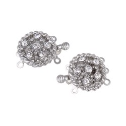 Brass Box  Clasp with Rhinestones 3-Strands 16x21x8   mm, Platinum Color Plated - 1 pc