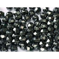 Fire Polished Faceted Round Beads 6 mm Jet Hematite - 25 pcs