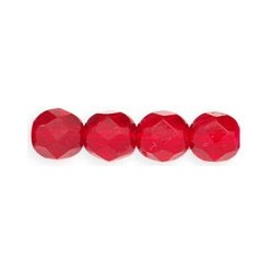 Fire Polished Faceted Round Beads  6 mm Ruby - 25 pcs
