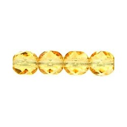 Fire Polished Faceted Round Beads 6 mm Light Topaz - 25 pcs