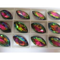 Cabochon Navetta Sfaccettata 17x32 mm Crystal Vitrail   - 1 pz