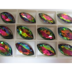 Horse Eye Faceted  Glass Cabochon 17x32  mm  Crystal Vitrail   - 1 pc
