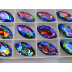 Horse Eye Faceted  Glass Cabochon 17x32  mm  Rainbow  AB  - 1 pc