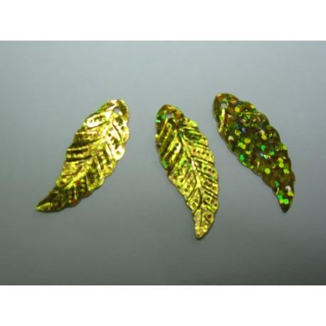 Foglie in acrilico 29x11 mm Dorate Glitterate - 5 pz