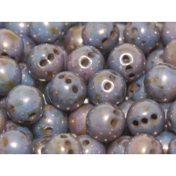 RounTrio® Beads 6 mm Chalk White  Lila/Bronze - 25 pz