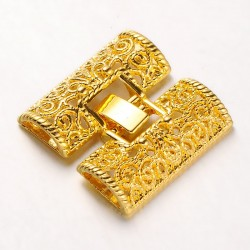 Alloy Filigree Fold Over Watch Band  Clasp 28x26x5  mm, Gold Color Plated - 1 pc