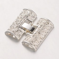 Alloy Filigree Fold Over Watch Band  Clasp 28x26x5  mm, Silver Color Plated - 1 pc
