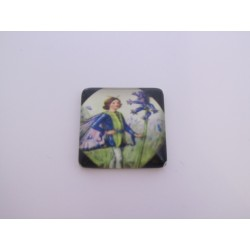 Square Glass Cabochon 20x20 mm Fairy Pattern - 1 pc