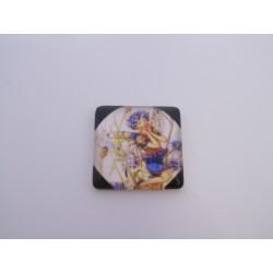 Cabochon Quadrato in Vetro  20x20 mm Soggetto Fata - 1 pz