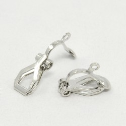 Brass Clip-on  Earring Component  13x6 mm, Platinum Color  - 2 pcs