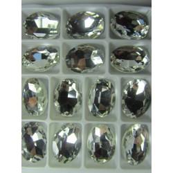 Cabochon Ovale Sfaccettato  in Vetro  13 x 18  mm Crystal - 1 pz