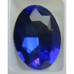 Cabochon Ovale Sfaccettato  in Vetro  13 x 18  mm Dark Sapphire/Cobalt - 1 pz