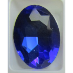 Oval Faceted Glass Cabochon 13 x 18 mm   Dark Sapphire/Cobalt  - 1 pc