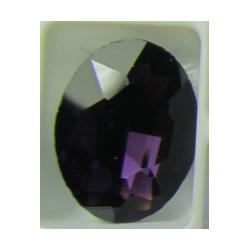 Cabochon Ovale Sfaccettato  in Vetro  13 x 18  mm Dark Amethyst/Purple - 1 pz